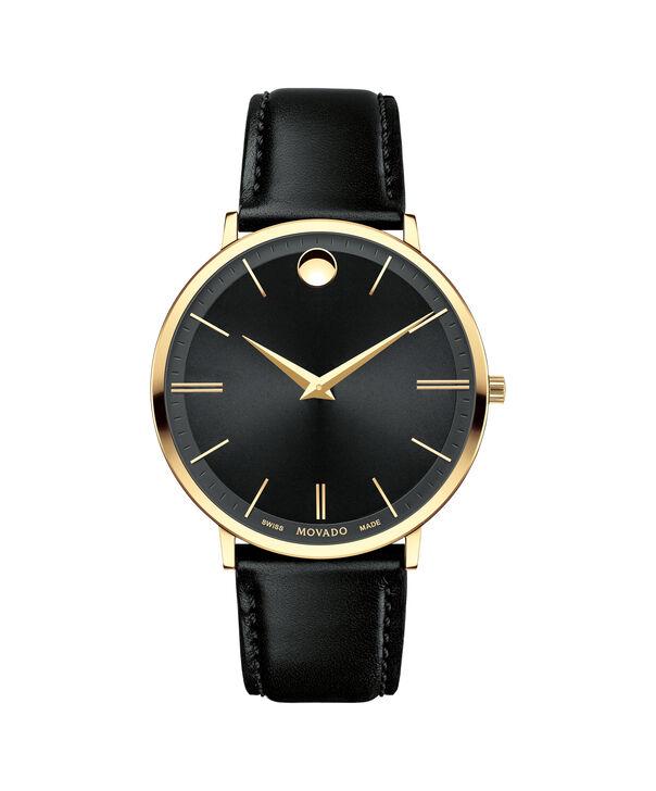 摩凡陀 超薄系列男士大号PVD镀金不锈钢腕表,黑色表盘