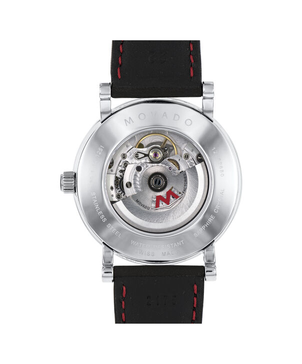 MOVADO 瑞红 (Red Label)0606845 – 男士42毫米自动机械日历皮带腕表 - 后视图