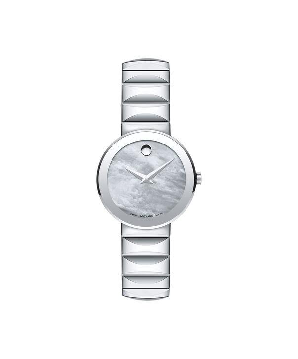 摩凡陀   女士蓝宝石不锈钢腕表,银色珍珠母贝表盘