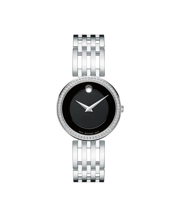 摩凡陀|爱莎女士不锈钢腕表,黑色镶钻表盘
