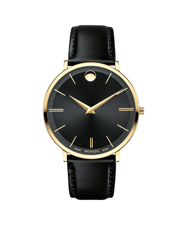 摩凡陀|超薄系列男士大号PVD镀金不锈钢腕表,黑色表盘