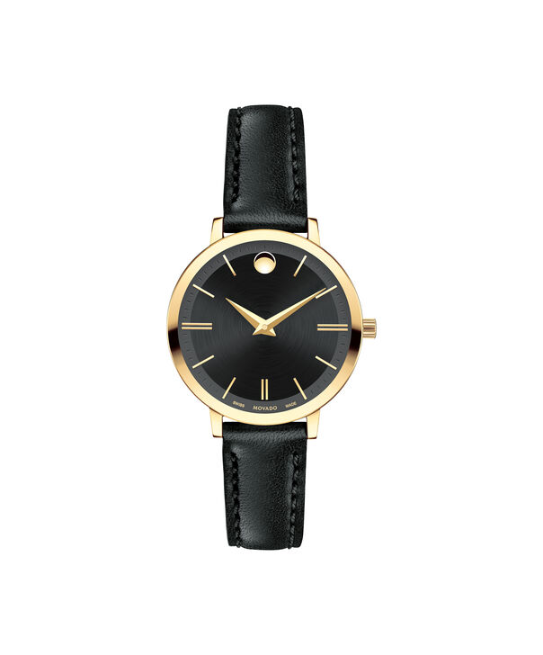 Movado | Movado Ultra Slim Women's Small Yellow gold PVD-finished stainless steel watch with Black dial