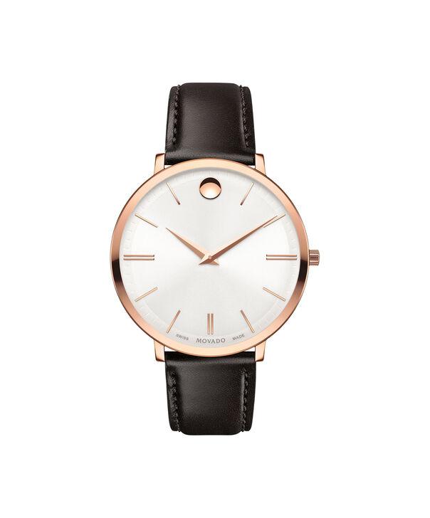 摩凡陀   瑞纤系列女士中号PVD镀玫瑰金不锈钢腕表,银色表盘