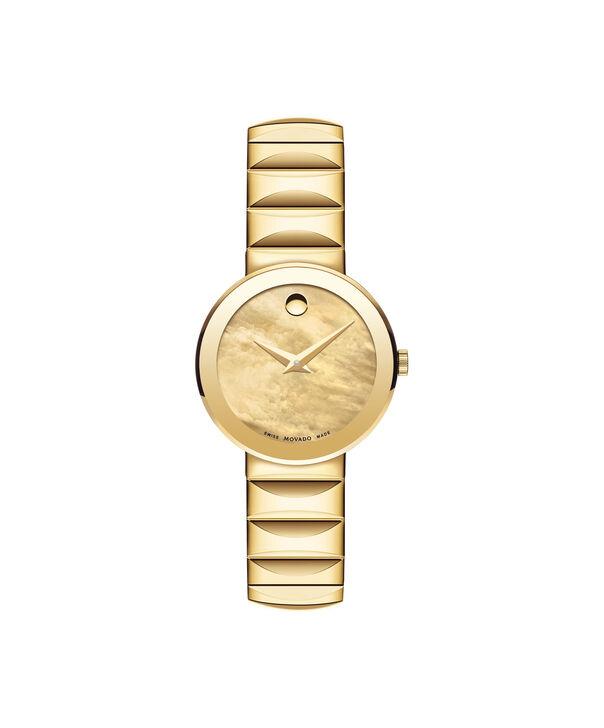 摩凡陀   女士蓝宝石PVD镀金不锈钢腕表,金色珍珠母贝表盘